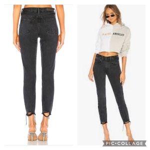 GRLFRND Karolina High-Rise Chewed Hem Jeans
